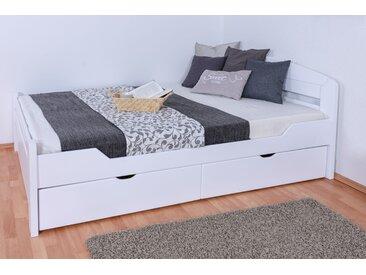 Lit simple / lit d´appoint Easy Premium Line ®' K5, avec 2 tiroirs et 2 panneaux de couverture, 140 x 200 cm bois de hêtre massif laqué blanc, sommier inclus