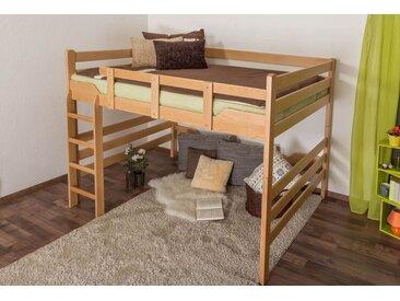 Lit mezzanine pour adultes Easy Premium Line ® K15/n, bois de hêtre massif naturel, convertible - Surface de couchage : 160 x 200 cm
