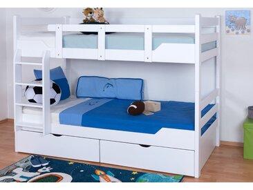 Lits superposés / lits superposés Easy Premium Line K12/n y compris 2 tiroirs et 2 panneaux de recouvrement, tête et pied de lit droits, hêtre massif blanc - Dimensions : 90 x 200 cm, divisible