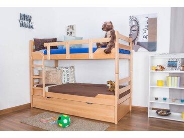 Lits superposés / lits superposés Easy Premium Line K12/h avec canapé et 2 panneaux de recouvrement, tête et pied de lit droits, hêtre massif nature - Dimensions : 90 x 200 cm, divisible