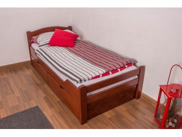 Lit enfant / lit de jeunesse Easy Premium Line K1/2n avec 2 tiroirs et 2 panneaux de couverture inclus, 90 x 200 cm en bois de hêtre massif laqué couleur cerisier