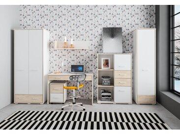 Set de chambre de jeunes B Fourchettes, 6 pièces, couleur : chêne / blanc