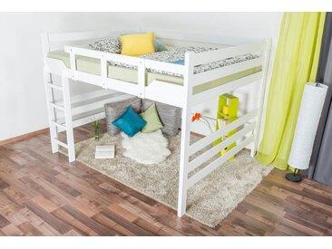 Lit mezzanine pour adultes Easy Premium Line ® K15/n, bois de hêtre massif laqué blanc, convertible - Surface de couchage : 160 x 190 cm