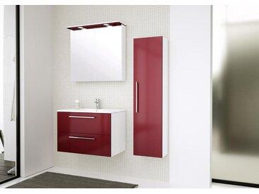 Meubles de salle de bains - Set B Bijapur, 3 pièces avec lavabo, Couleur : Rouge Brillant