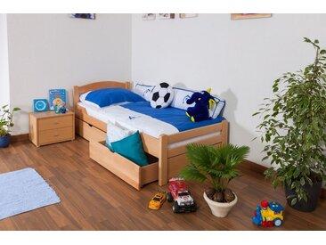 Lit enfant / lit de jeunesse Easy Premium Line K1/2n avec 2 tiroirs et 2 panneaux de couverture inclus, 90 x 200 cm en bois de hêtre massif naturel
