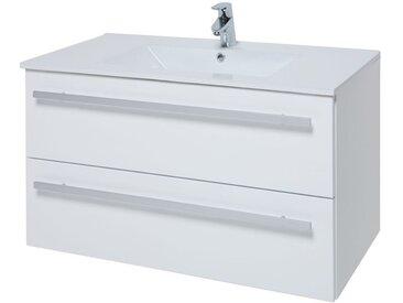 Meuble lavabo Bidar 43, Couleur : Blanc brillant – 50 x 92 x 47 cm (H x l x p)
