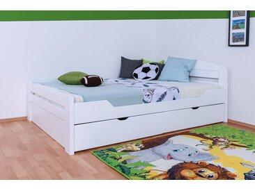 Lit de jeunesse Easy Premium Line ®' K5, avec 2 tiroirs et 2 panneaux de couverture, 140 x 200 cm bois de hêtre massif laqué blanc, sommier inclus