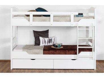 Lit superposé pour adultes Easy Premium Line K13/n incl. 2 tiroirs et 2 panneaux de couverture, tête etpied de lit arrondis, hêtre massif blanc - 90 x 200 cm (l x l), divisible