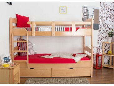 Lit superposé Easy Premium Line K13/n avec 2 tiroirs et 2 panneaux de recouvrement, tête et pied de lit arrondis, hêtre naturel massif - dimensions : 90 x 200 cm
