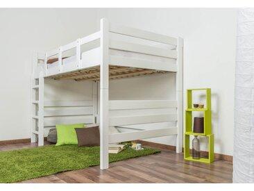 Lit mezzanine pour adultes Easy Premium Line ® K15/n, bois de hêtre massif laqué blanc, convertible - Surface de couchage : 120 x 190 cm