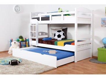 Lit Mezzanine / Lit superposé Easy Premium Line K10/h incl. couchette et 2 panneaux de masquage, tête de lit avec des trous, hêtre massif blanc- Dimensions: 90 x 200 cm