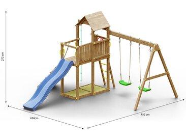 Tour de jeux / aire de jeux pour enfants, y compris rampe avec corde à grimper, toboggan à vagues, balcon, double balançoire, 2 bacs à sable, corde à grimper et toit en bois FSC®.