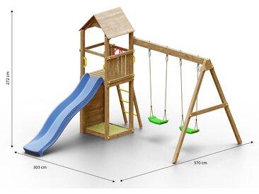 Tour de jeux pour enfants / aire de jeux avec toboggan à vagues, mur descalade, double balançoire, bac à sable et toit en bois FSC