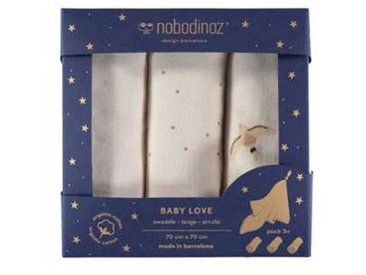 nobodinoz Lot de 3 Langes Baby Love - Haiku Birds