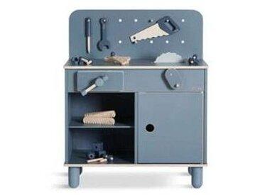 flexa Banc de Bricolage de Jeu + Kit d'Outils 8 Pièces