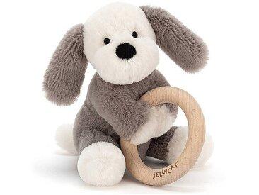 Little Jellycat Hochet Shooshu Puppy avec Anneau en Bois