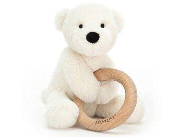 Little Jellycat Hochet Shooshu Perry Polar Bear avec Anneau en Bois