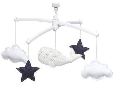 Pouce et Lina Mobile Musical Baleine - Blanc et Bleu Marine