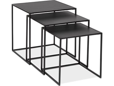 Set de 3 tables gigognes empilables 'BAGGY' en bois et métal noi