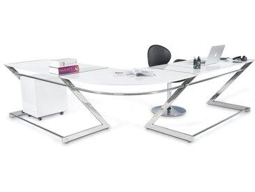 Bureau d'angle 'ZETA' en bois blanc design (angle au choix)