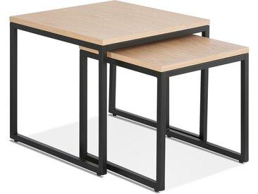 Set de 2 tables gigognes style industriel 'MOMA' en bois finitio