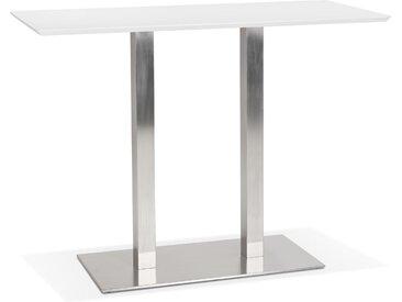 Table haute design 'MAMBO BAR' blanche avec pied en métal brossé