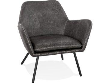 Fauteuil lounge design 'AMERIKA' en matière synthétique grise fo