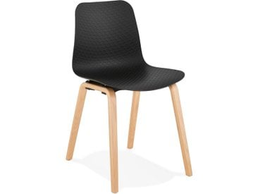 Chaise scandinave 'PACIFIK' noire avec pieds en bois finition na