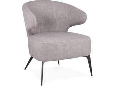 Fauteuil lounge design 'SOTO' en tissu gris et pieds en métal no