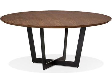 Table de salle à manger ronde 'LULU' en bois finition Noyer et m