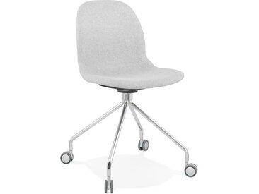 Chaise de bureau design 'GLIPS' en tissu gris clair sur roulette