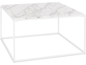 Table basse de salon 'SPIN' blanche en pierre marbrée