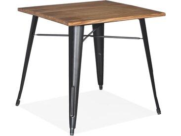 Table carrée style industriel 'MARCUS' en bois foncé et pieds en