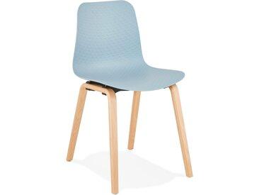 Chaise scandinave 'PACIFIK' bleue avec pieds en bois finition na