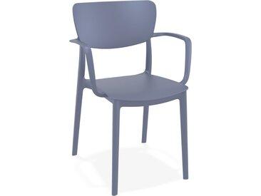 Chaise avec accoudoirs 'GRANPA' en matière plastique grise foncé