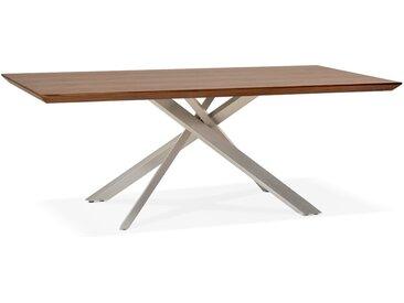 Table à manger 'WALABY' en bois finition Noyer avec pied central