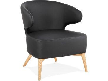 Fauteuil lounge 'NORMAN' noir et pieds en bois finition naturell