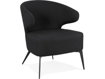 Fauteuil lounge design 'SOTO' en tissu noir et pieds en métal no