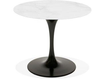 Table à manger 'GOST' ronde en verre blanc effet marbre et pied