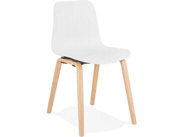 Chaise scandinave 'PACIFIK' blanche avec pieds en bois finition