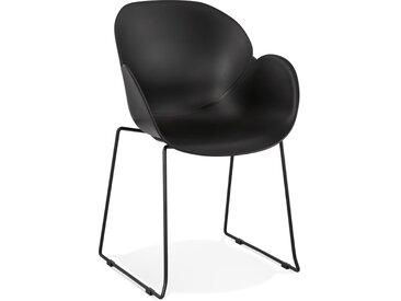 Chaise avec accoudoirs 'ZAKARY' noire avec pied en métal - intér