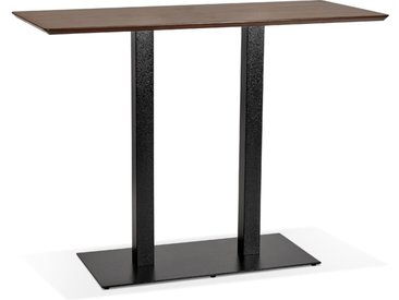 Table haute design 'ZUMBA BAR' en bois finition Noyer avec pied