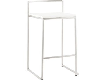 Tabouret snack design mi-hauteur 'DISKO MINI' blanc empilable