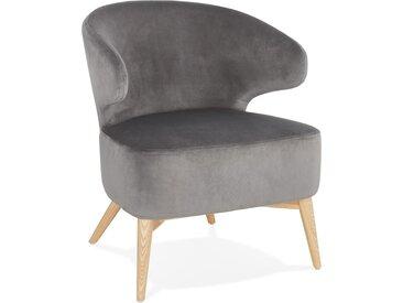 Fauteuil lounge vintage 'LUXY' en velours gris et pieds en bois