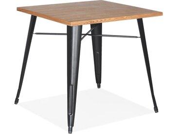 Table carrée style industriel 'MARCUS' en bois clair et pieds en