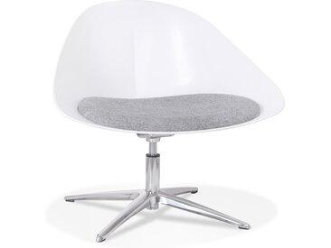 Chaise lounge design 'DAPHNE' en matière plastique blanche et ti