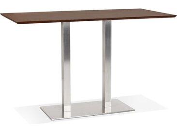 Table haute design 'MAMBO BAR' en bois finition Noyer avec pied