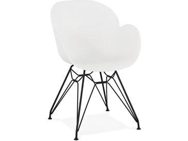 Chaise design 'SATELIT' blanche style industriel avec pieds en m