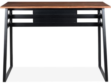 Table de bar haute 'NIKI' en bois massif et pied en métal noir -