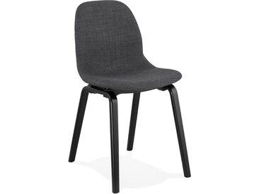 Chaise de salle à manger 'CELTIK' en tissu gris et pieds en bois